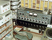Closeup of Master Control console in Bloomfield, circa 1966
