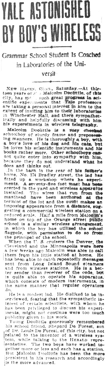October 21, 1906 - New York Herald article on young Franklin Malcolm Doolittle