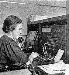 WDRC's Grace Legg at switchboard circa 1936