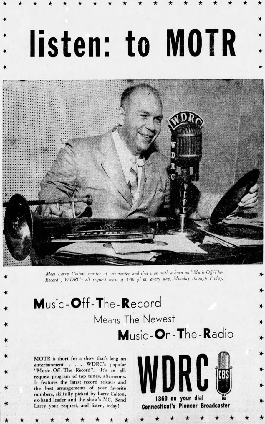 WDRC ad for Larry Colton and Music Off The Record - November  6, 1945