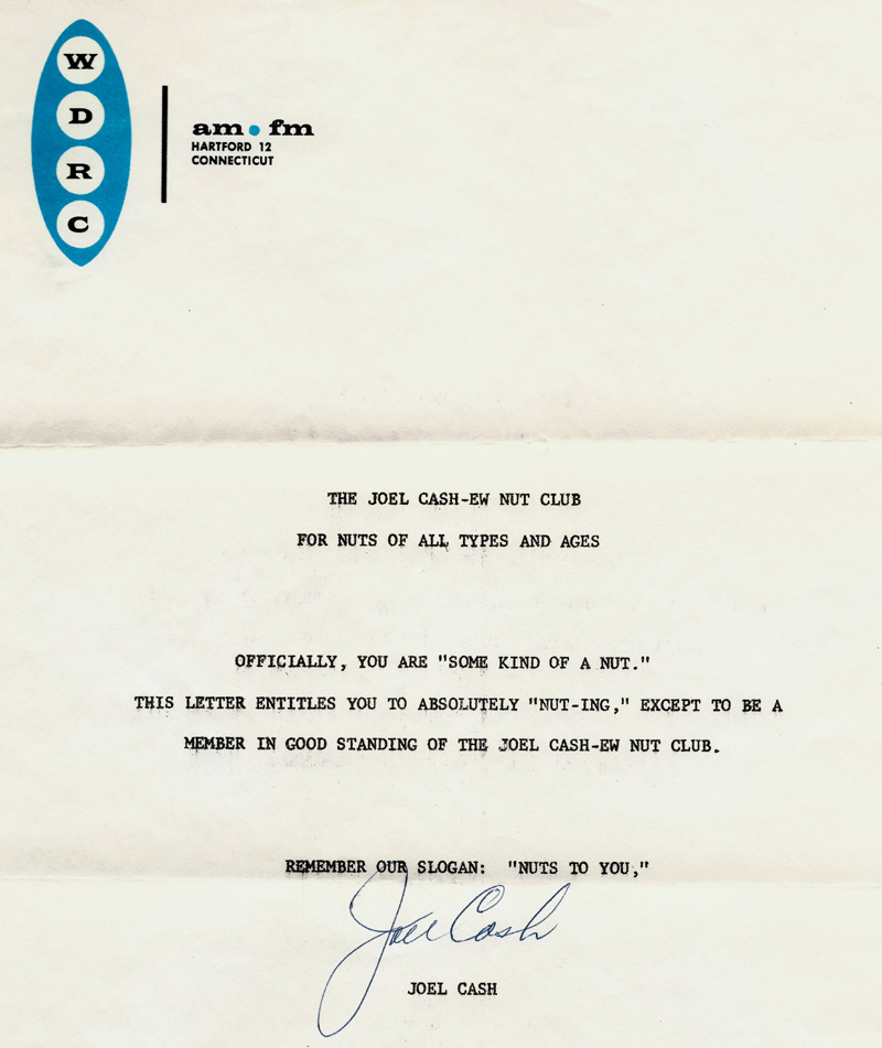 May 1962 letter to listeners about the WDRC Joel Cash-ew Nut Club