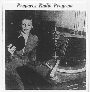 Mary Coleman prepares a deejay progam on WDRC in February 1949