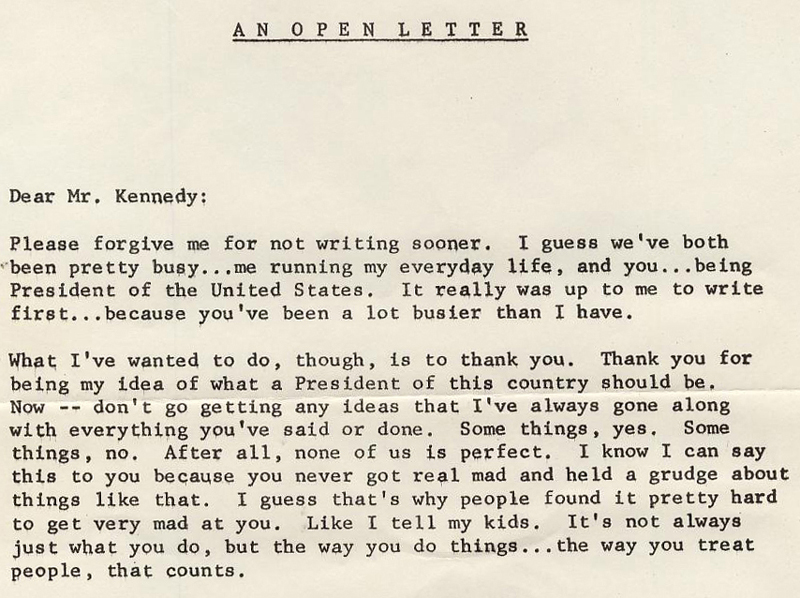 WDRC's Open Letter to JFK written by Charles R. Parker