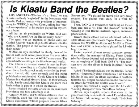 Billboard Magazine aryicle about WDRC and Klaatu