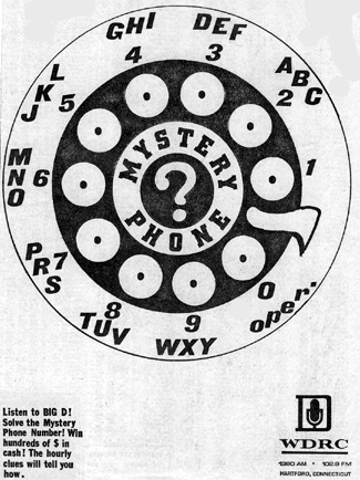 March 25, 1970 - ad for WDRC Mystery Phone contest
