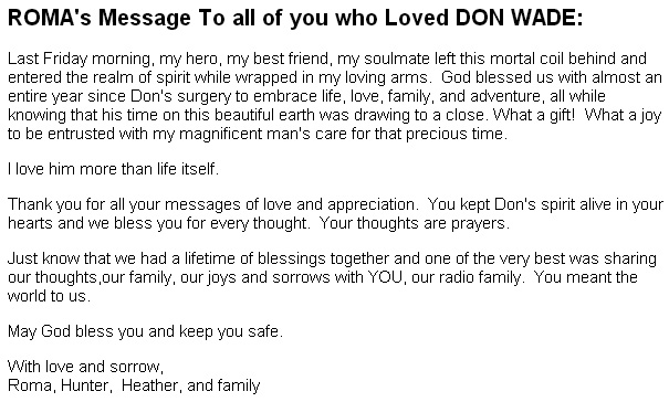 Roma's message on the death of Don Wade from the WLS Chicago website